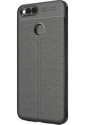 Casestore Huawei Honor 7X Ultra Lüx Tam Kaplayan 3D Ekran Koruyucu Cam Siyah + Deri Silikon Kılıf