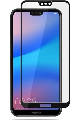Casestore Huawei Honor 10 Ultra Lüx Tam Kaplayan 3D Ekran Koruyucu Cam Siyah + Siyah Silikon Kılıf