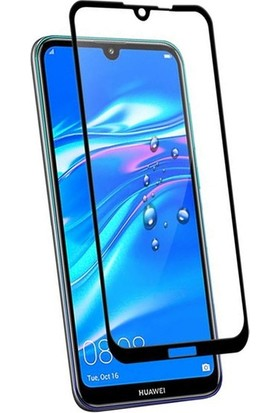 Casestore Huawei Y7 2019 Ultra Lüx Tam Kaplayan 3D Ekran Koruyucu Cam Siyah + Siyah Silikon Kılıf