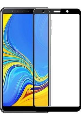 Casestore Samsung Galaxy A7 2018 5D Full Nano Ekran Koruyucu Cam Siyah + Şeffaf Silikon Kılıf