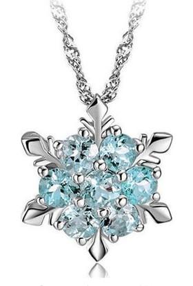 Myfavori Deniz Mavisi Kristal Kar Tanesi Kolye Gümüş Renk