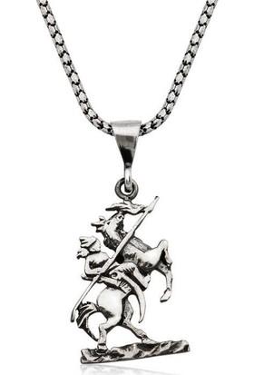 Gumush Gümüş Göktürk Süvarisi Kolye