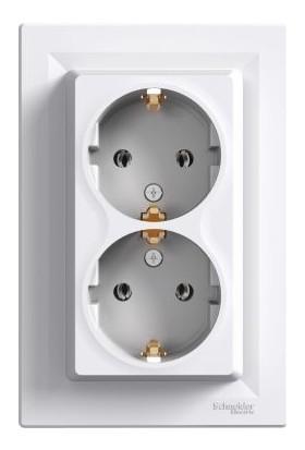 Schneider Electric Asfora Beyaz İkili Topraklı Priz