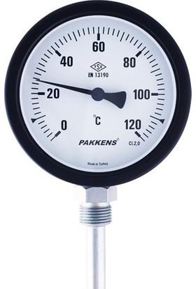 Pakkens Termometre 0-350 °C Çap 100 mm Daldırma Boyu 10 cm Alttan Bağlantılı G 1/2 inç