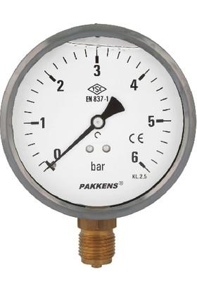 Pakkens 0-6 Bar 160 mm Alttan Bağlantılı Gliserinli Manometre G 1/2 inç