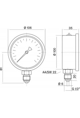 Pakkens 0-600 Bar 100 mm Alttan Bağlantılı Gliserinli Manometre G 1/2 inç
