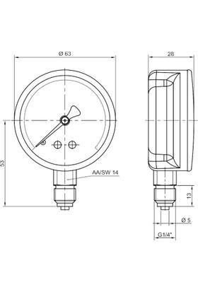 Pakkens 0-6 Bar 63 mm Alttan Bağlantılı Kuru Manometre G 1/4 inç