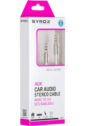 """Syrox C20 Aux Kablo 1 Metre 3.5"""" Jack"""