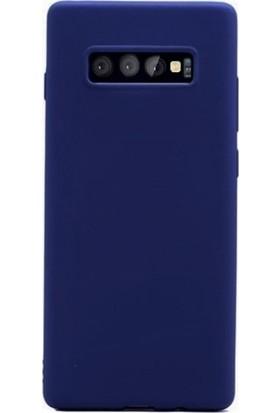 DVR Samsung Galaxy S10 Plus Kılıf Silikon Premier (Lacivert) + Tam Ekran Cam Koruyucu