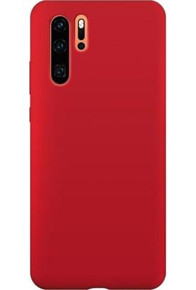 DVR Huawei P30 Pro Kılıf Silikon Premier (Kırmızı) + Tam Ekran Cam Koruyucu