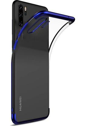Kılıfshop Huawei P30 Pro Kılıf Silikon Dört Köşeli Lazer Kapak (Mavi) + Tam Ekran Cam Koruyucu