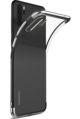 Kılıfshop Huawei P30 Pro Kılıf Silikon Dört Köşeli Lazer Kapak (Gümüş) + Tam Ekran Cam Koruyucu