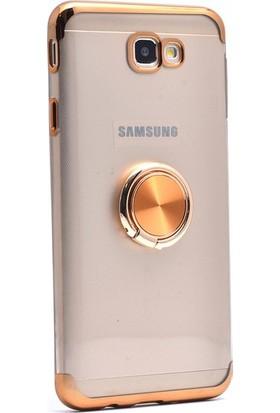 Casestore Samsung Galaxy J4 Plus Kılıf Yüzüklü Mıknatıslı Standlı Lazer Kaplama Kılıf