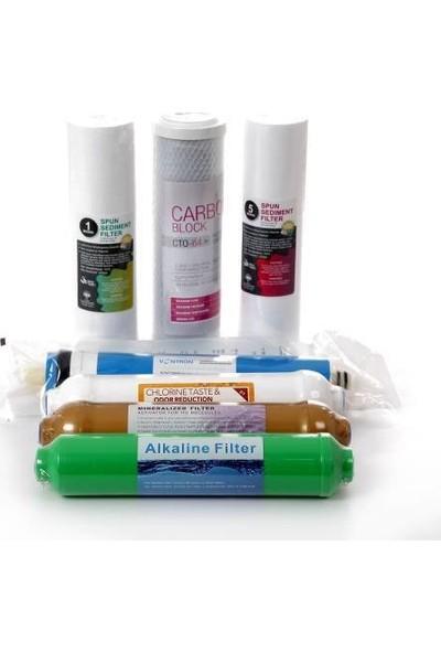 Cleanwater Su Arıtma Cihazı 7 Aşama Yedek Filtre Seti Alkali