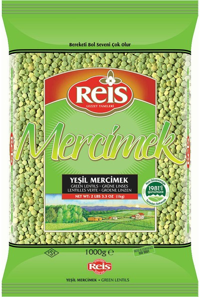 Reis Gıda Yeşil Mercimek 1 kg