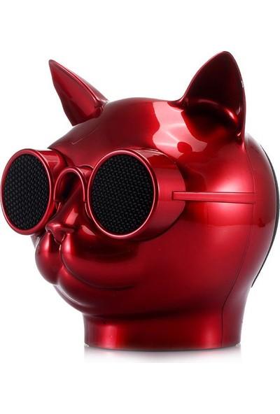 Case 4U T8 Cat Taşınabilir Bluetooth 5.0 Kablosuz Hoparlör - Hafıza Kartı - Aux - Ses Bombası - 8 Saate Varan Şarj - Kırmızı