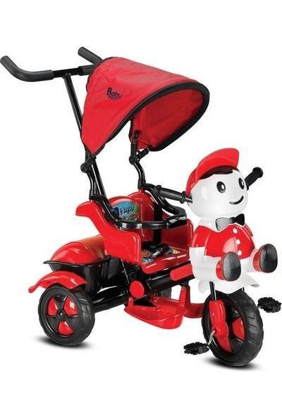 Babyhope 125 Yupi Panda Ebeveyn Kontrollü Tenteli Müzikli Tricycle Üç Teker Bisiklet -Kırmızı/Siyah