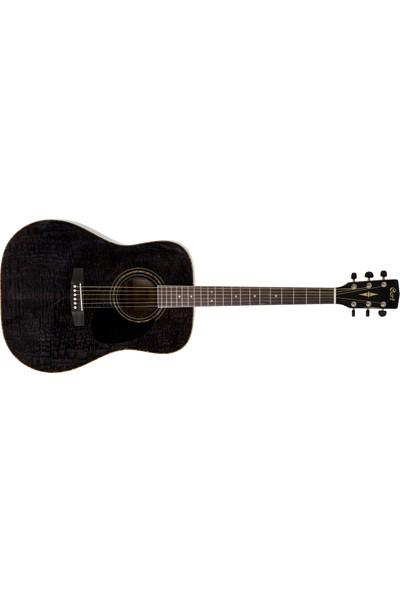 Cort Akustik Gitar, Desenli Siyah, Ladin Kapak, Arka & Y