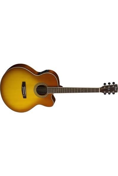 Cort Elektro Klasik Gitar, Jumbo Cutaway, Honey Burst, F