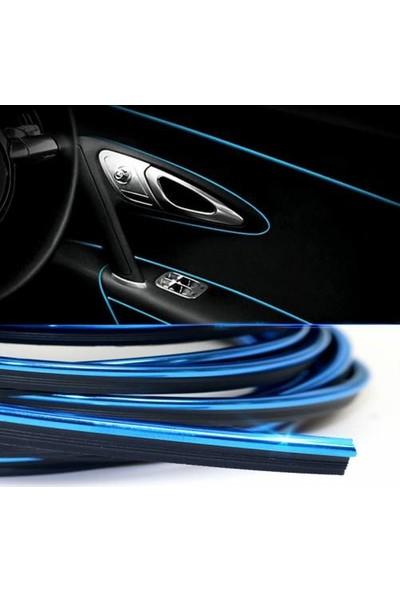 GD24 Fitilli Torpido Şerit Araç İçi İp Şerit Nikelajlı Parlak Görünüm 5 Metre Mavi