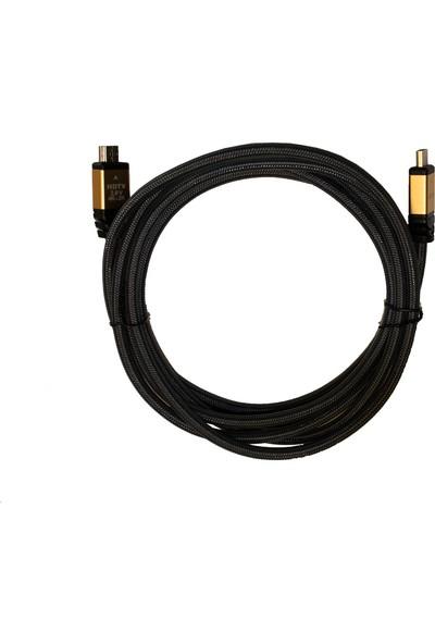Case 4U Premium 4K HDMI 2.0 Kablo - 60 HZ - Naylon Örgülü - Altın Uçlu - 3 Metre