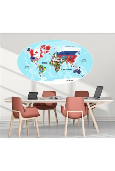 Ega Bayraklı Dünya Haritası Çocuk Odası Sticker
