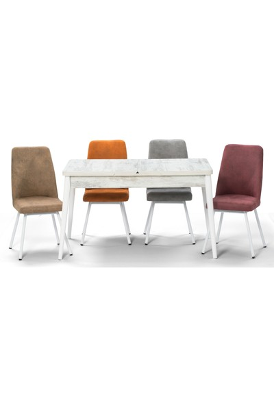 Özer Aksesuar Milas Beyaz Açılır Mutfak Masa Sandalye Takımı