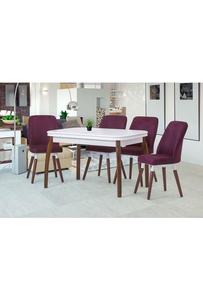Özer Aksesuar Side Lake Beyaz Açılır Mutfak Masa Sandalye Takımı
