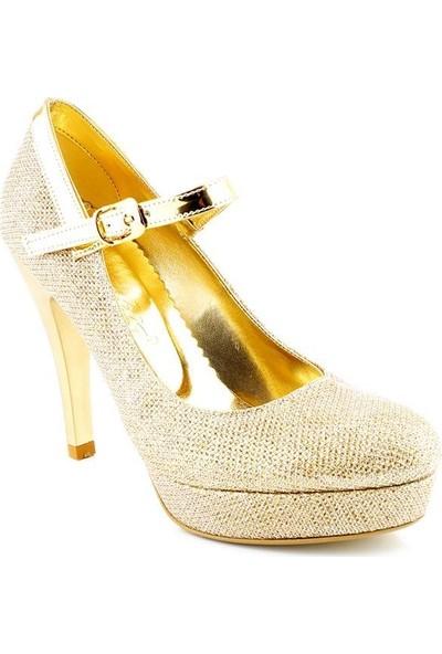 AyakkabıTarzım Gold Cupra Topuklu Kadın Ayakkabı ALCK00544
