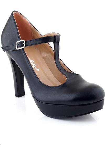 AyakkabıTarzım Siyah Mat Topuklu Kadın Ayakkabı ALCK00546