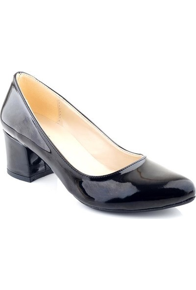 AyakkabıTarzım Siyah Rugan Kadın Topuklu Ayakkabı ALCK00539