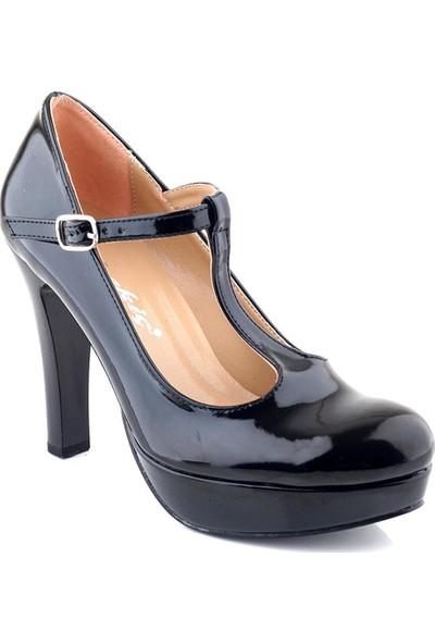AyakkabıTarzım Siyah Rugan Topuklu Kadın Ayakkabı ALCK00547