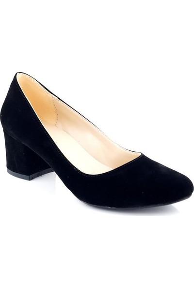 AyakkabıTarzım Siyah Süet Kadın Topuklu Ayakkabı ALCK00540