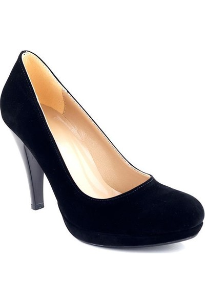 AyakkabıTarzım Siyah Süet Topuklu Kadın Ayakkabı ALCK00541