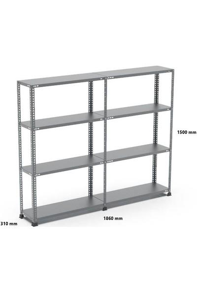 Rafçızade Çelik Raf 31 x 93 1.5 mt Yükseklik 4 Katlı 2 Ünite
