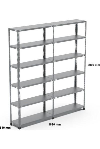 Rafçızade Çelik Raf 31 x 93 2 mt Yükseklik 6 Katlı 2 Ünite