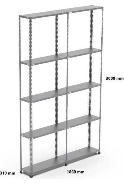 Rafçızade Çelik Raf 31 x 93 3 mt Yükseklik 5 Katlı 2 Ünite