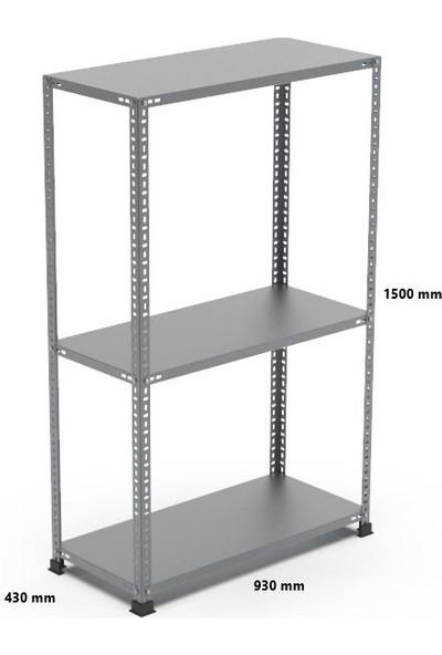 Rafçızade Çelik Raf 43 x 93 1.5 mt Yükseklik 3 Katlı