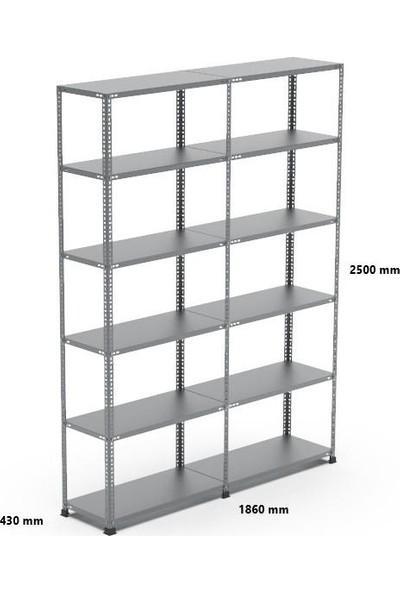 Rafçızade Çelik Raf 43 x 93 2.5 mt Yükseklik 6 Katlı 2 Ünite