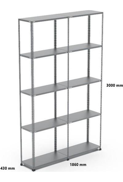 Rafçızade Çelik Raf 43 x 93 3 mt Yükseklik 5 Katlı 2 Ünite