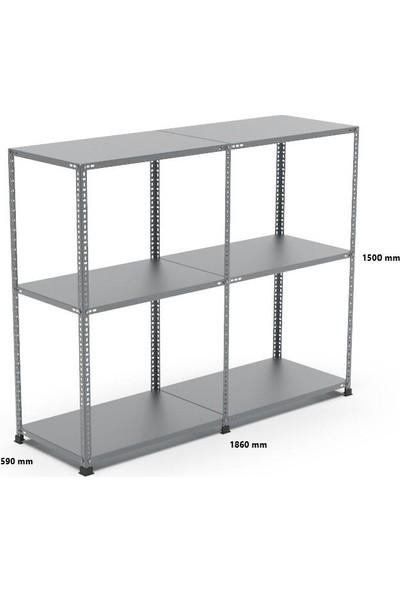 Rafçızade Çelik Raf 59 x 93 1.5 mt Yükseklik 3 Katlı 2 Ünite