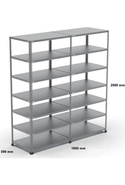 Rafçızade Çelik Raf 59 x 93 2 mt Yükseklik 7 Katlı 2 Ünite
