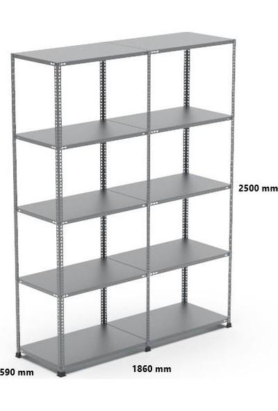 Rafçızade Çelik Raf 59 x 93 2.5 mt Yükseklik 5 Katlı 2 Ünite