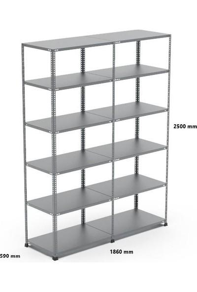 Rafçızade Çelik Raf 59 x 93 2.5 mt Yükseklik 6 Katlı 2 Ünite