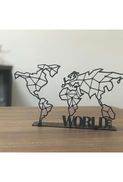 Pirudem World Map POD Metal Tablo 30 x 16 cm