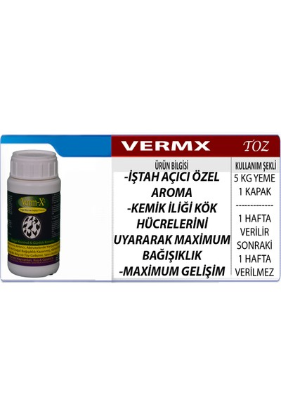 Vermx-Tr Tavuk Civciv Kaz Keklik İştah Açıcı Verim Artırıcı Bağışıklığı Güçlendirici