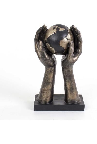 Piyop Eller Ve Dünya Biblosu Bronz Rengi 18 x 30 cm