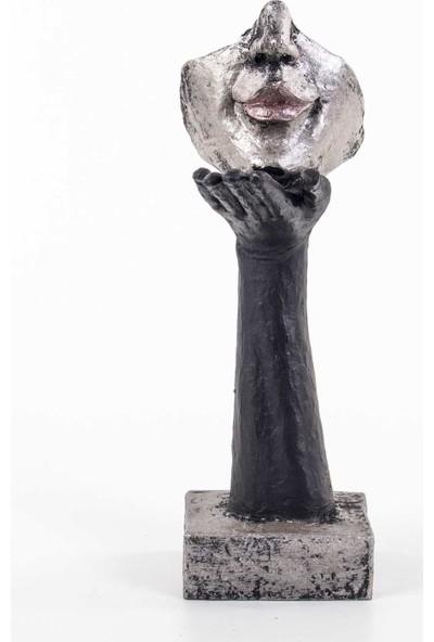 Piyop Üfleyen Figürlü Mask Biblo Siyah Platin Rengi 10 x 14 x 30 cm