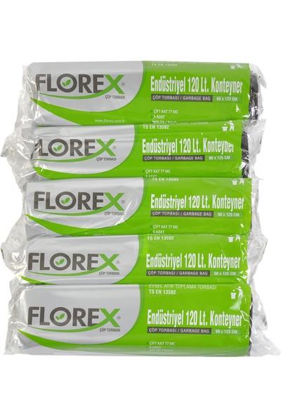 Florex Endüstriyel 120Lt Konteyner Siyah Çöp Torbası 90X125 cm 5 Rulo
