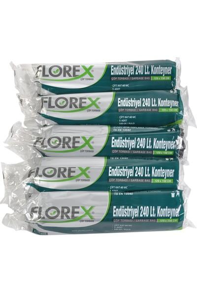 Florex Endüstriyel 240Lt Konteyner Siyah Çöp Torbası 120x150 cm 5 Rulo